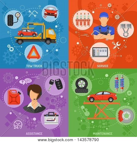 Car Service, Roadside Assistance and Maintenance Banners with Flat Icons Mechanic, Support and Tow Truck. Vector illustration.