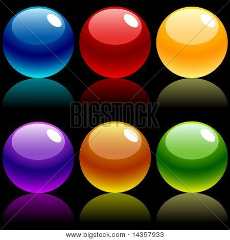 Beautiful balls on dark. Vector illustration.