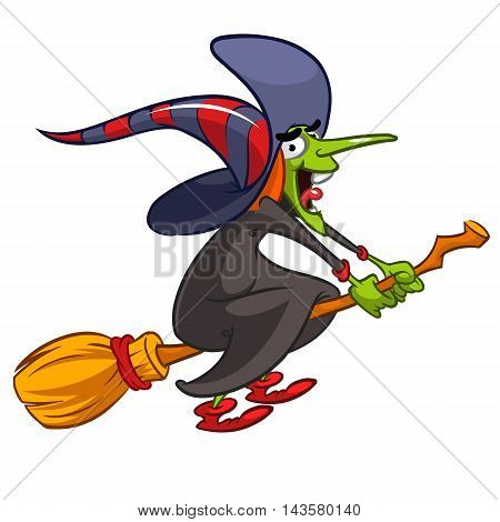 Cartoon witch flying on a broom. Vector Halloween illustration with a funny witch isolated on white