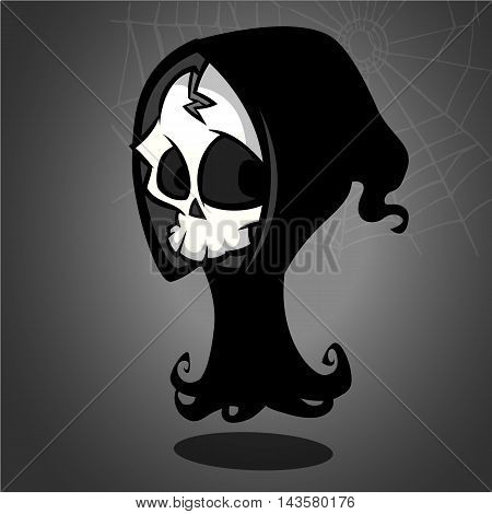 Vector illustration of cartoon death Halloween monster isolated on dark background. Grim Reaper