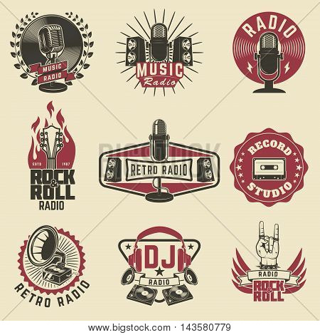 Radio labels. Retro radio record studio rock and roll radio emblems. Old style microphone guitars. Design elements for logo label sign badge.