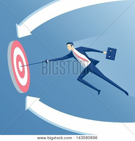 business concept success and goal businessman with a sword hits the center of the target the employee runing with a rapier to the target