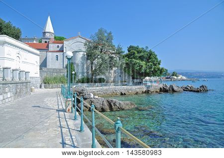Promenade of Opatija at adriatic Sea in Istria,Croatia