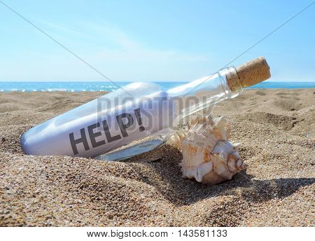 Message in a bottle, washed ashore a beach.