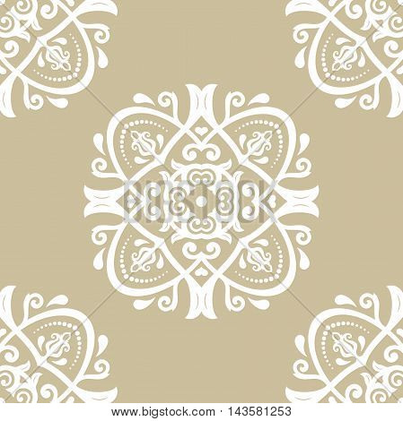 Seamless damask vector golden pattern. Traditional classic orient ornament