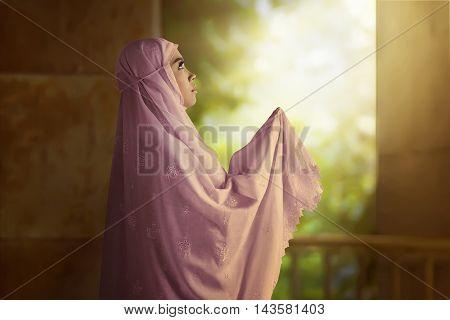Asian Muslim Woman Wearing Pink Veil