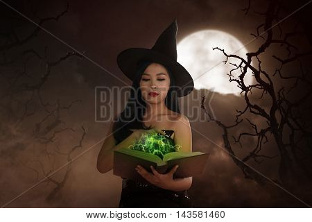 Asian Wizard Woman Holding Spell Book