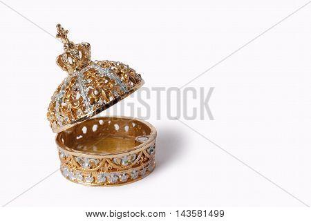 Beaty jewellery casket box isolated on white