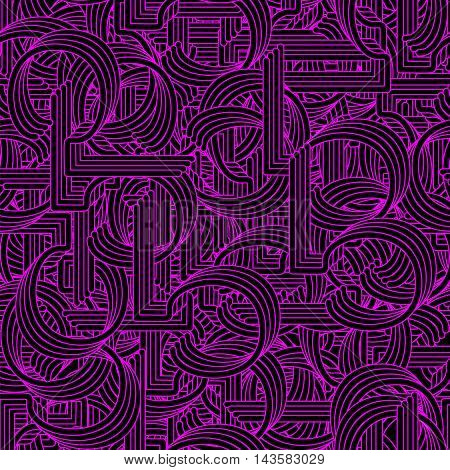 Seamless pattern in Retro style. Coiled pipes and repeated tubing. Vector.