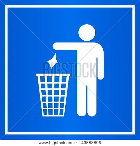Do not litter blue sign vector illustration isolated on white background