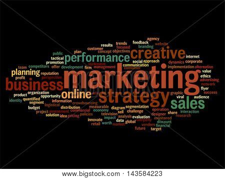 Vector concept or conceptual business marketing word cloud isolated on background metaphor to advertising, strategy, promotion, branding, value, performance, planning, challenge or development