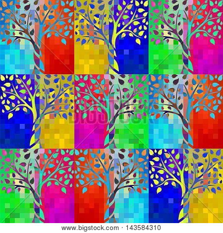 seamless pattern with abstract tree on a background of bright psychedelic pixels