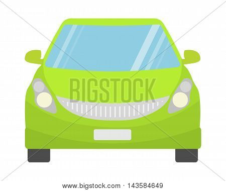 Green car front view. Concept of eco electric car. Fresh clean green car on white background.