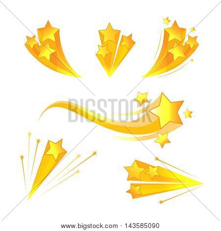 Cartoon stars burst vector elements. Explosion and flash, light effect decoration illustration
