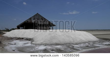 the big storehouse of sea salt in the salt farm.