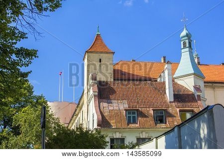 background cityscape view of the old town tower in Riga, Latvia