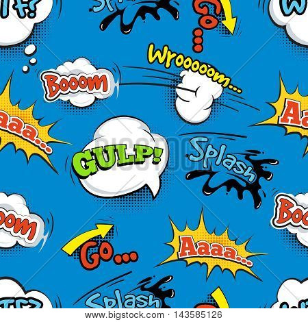 Vintage comic shout vector seamless pattern. Speech bubble with word and illustration of explosion