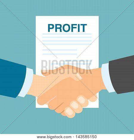 Profit concept handshake. Making progress in business and finance.