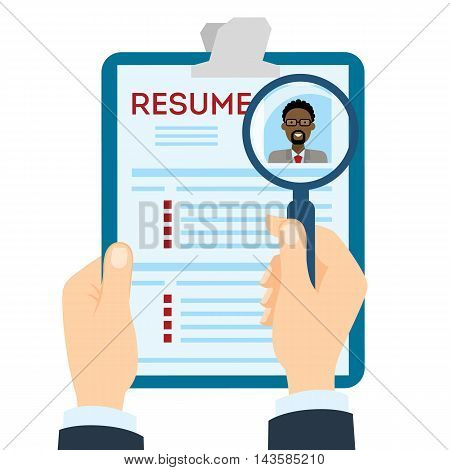 African american man resume with magnifier at the table. Cv resume concept. Finding a worker. Apply for a job. Business opportunity. Cv profile.
