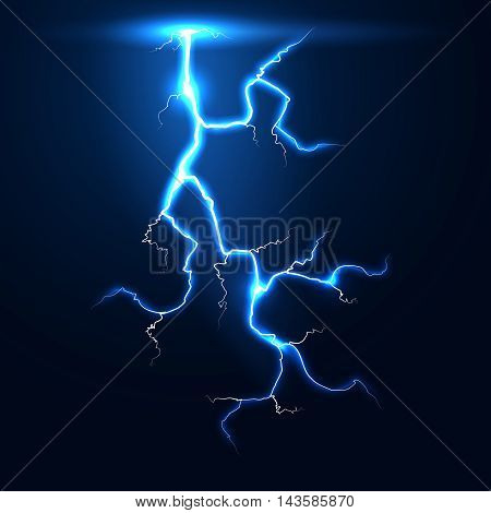 Lightning thunder storm vector background. Illustration of thunderstorm flash and electricity strike