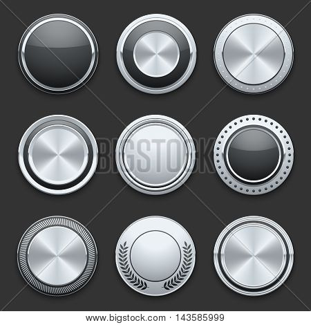 Silver metal chrome vector buttons. Set of switches glossy round illustration