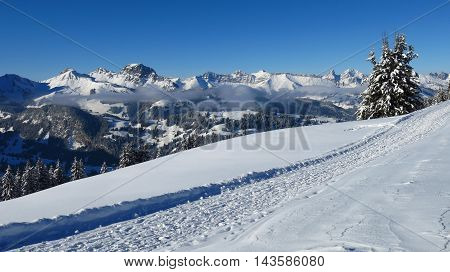 Snow landscape in Gstaad Swiss Alps. Winter hiking path on Mt Wispile and mountains.