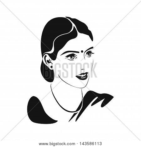 Indian woman. Karva Chauth. Portrait of a married Indian woman with mangala sutra bindi on the forehead and a happy smile. Monochrome vector illustration
