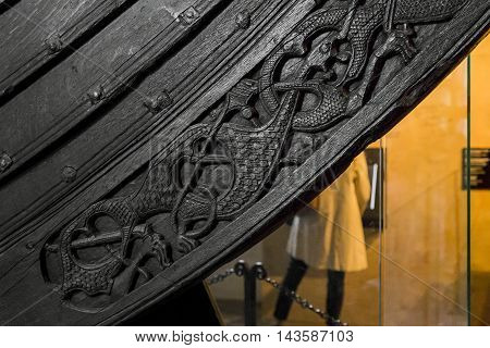 OSLO, NORWAY - JULY 1, 2016: It's fragment of a real funeral Drakkar Vikings raised from the bottom of the Oslo Fjord.