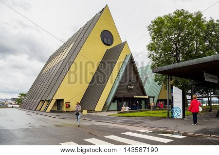 OSLO NORWAY - JULY 1 2016: This is entrance Museum of Ship Fram on the museum peninsula Byugdoy.