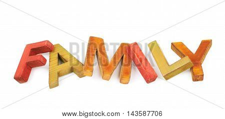 Word Family made of colored with paint wooden letters, composition isolated over the white background