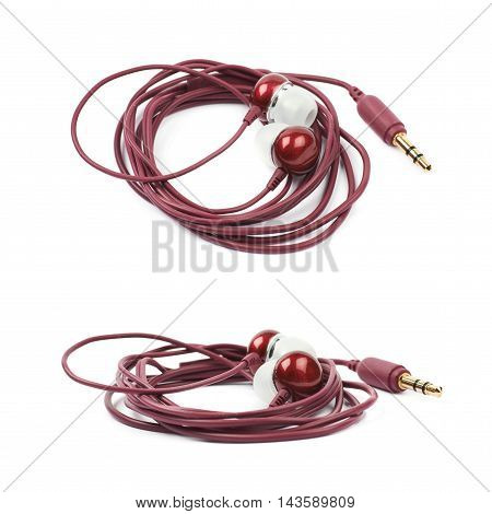 Pair of maroon colored earplug headphones isolated over the white background, set of two different foreshortenings