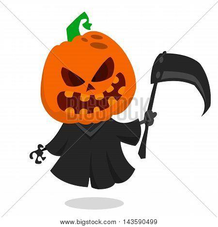 Cartoon pumpkin head monster icon. Vector pumpkin reaper with scythe isolated on white