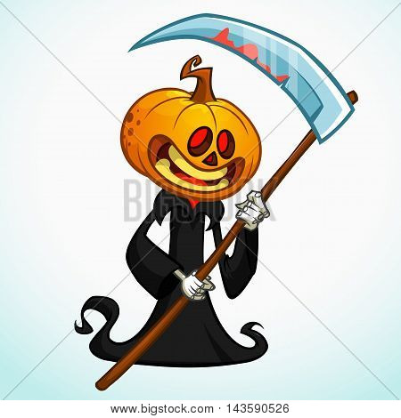Cartoon pumpkin head monster with red eyes. Vector pumpkin reaper in black hood with scythe isolated on white