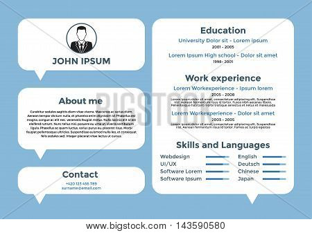 CV design, resume template, cv vector graphic design, resume layout for unemployed, cv for freelancers, resume with space for your data