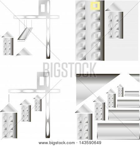 Building construction logo template vector illustration. Crane concept Real estate sign. Reconstruction web page. Design element.