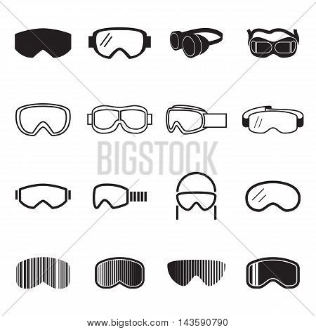 Goggles and safety glasses icons isolated on a white background. Vector illustration