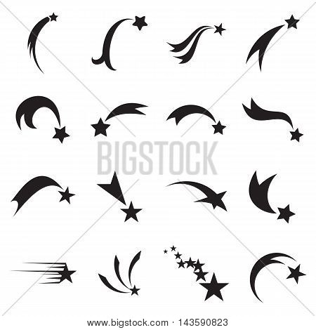 Collection of shooting and falling star icons isolated on a white background. Comet and meteor symbols. Vector illustration