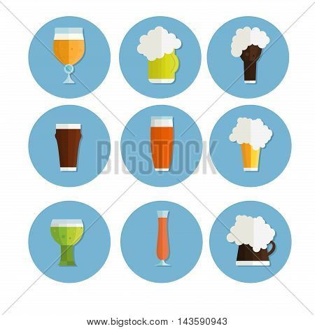 Beer vector icons set. Beer bottle, beer glass and beer label. Beer cups silhouette, beer vector icons, beer isolated. Oktoberfest beer vector set.