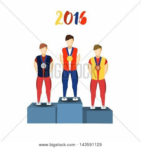 Athletics Winner Podium Athletes. Sports Athletics Image. Brazil Summer Games Athlete Podium. olympics Brasil 2016 Icon. Brazil Athletics Winner Podium Vector Image