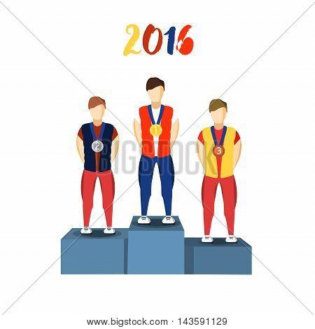 Athletics Winner Podium Athletes. Sports Athletics Image. Brazil Summer Games Athlete Podium. olympics Brasil 2016 Icon. Brazil Athletics Winner Podium Vector Image
