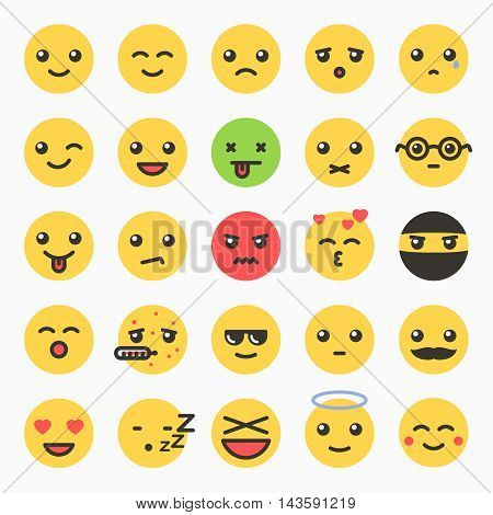 Emoticons set, yellow website emoticons, Emoji icons, Emoticons faces, Isolated emoticons on white background vector illustration