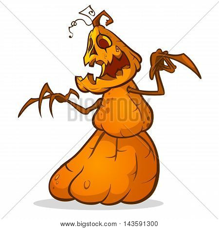 Halloween scarecrow with pumpkin head. Vector cartoon pumpkin monster with smiling expression isolated on white