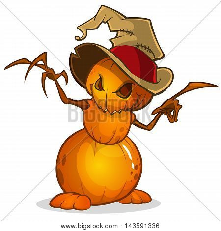 Scarecrow with pumpkin head in a witch hat and rags. Cartoon style pumpkin head with hands. Vector isolated