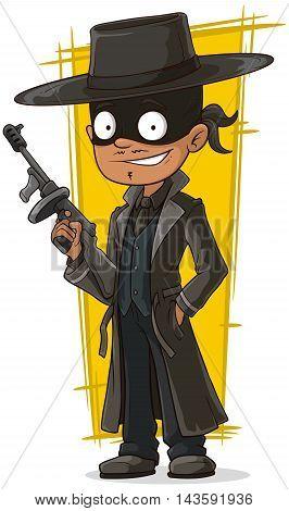 A vector illustration of cartoon bank robber in black mask