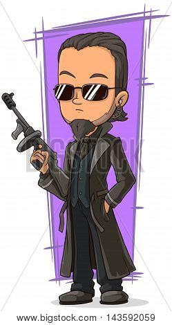 A vector illustration of cartoon cool killer with gun