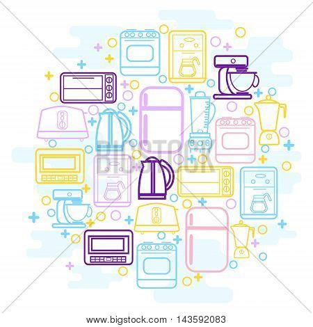 Line icons set with flat design elements of household goods home appliance. Home Kitchen appliances icons