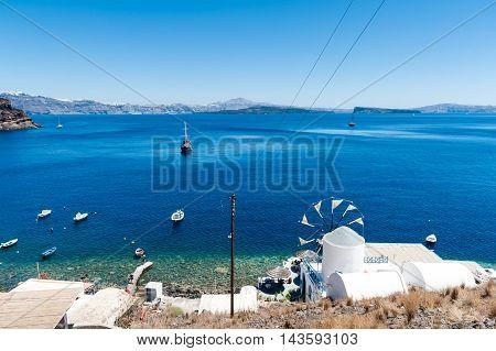 View of Santorini island from Thirasia - Greece