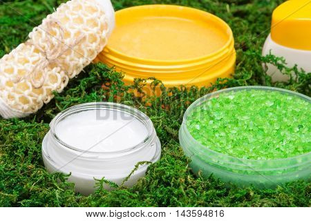 Close-up of spa and pampering products. Coarse sea salt, skin care creams, natural body scrub, body scrubber on green moss. Safe organic cosmetics. Side view, very shallow depth of field