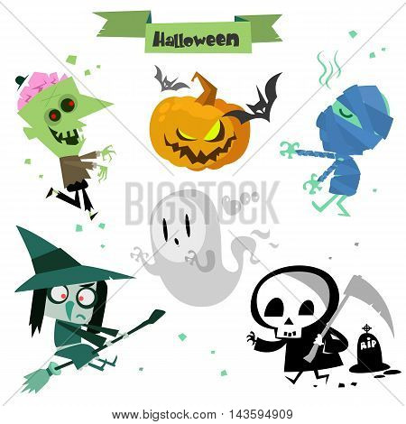 Cute cartoon Halloween characters icon set. Zombie pumpkin head mummy bat witch ghost grim reaper death and cemetery. Vector Halloween elements