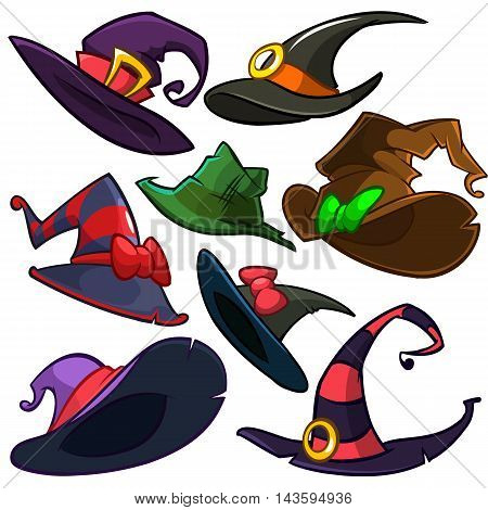 A vector set of Halloween witch hats. Vector witch hat icons isolated on white background